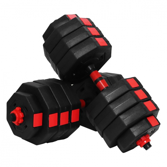 Činky jednoruční set Sportvida 2x20 kg + spojovací díl