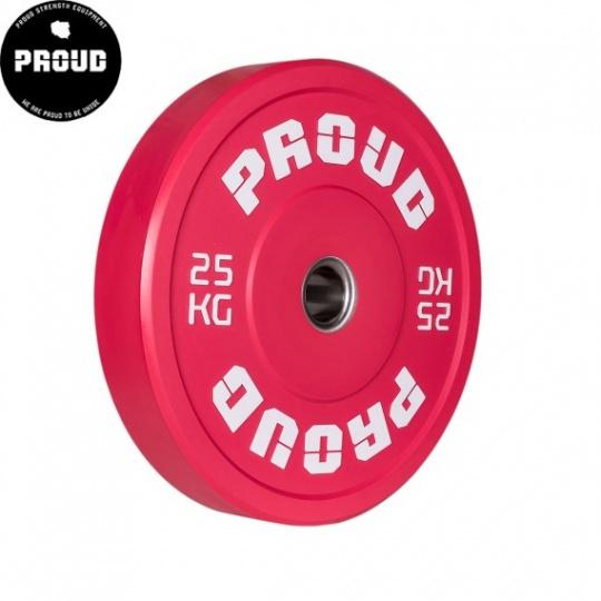 Olympijský kotúč PROUD TRAINING BUMPER PLATE RED 25 kg