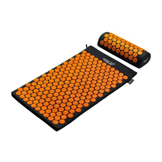 Akurpresúrna podložka + vankúš 4FIZJO 72 * 42 cm čierno-oranžová