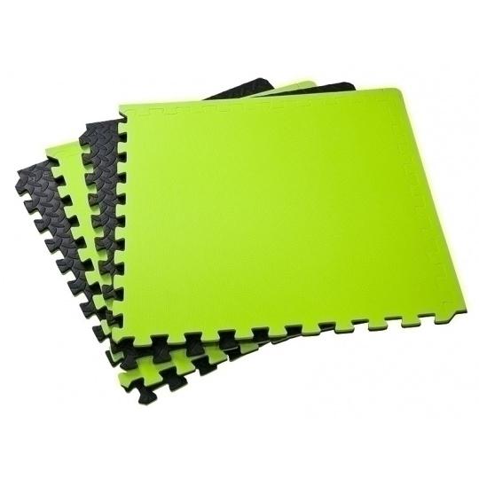 Podložka na cvičenie Allright - Tatami Puzzle 4ks bal 62x62x1,2 cm čierno-zelená