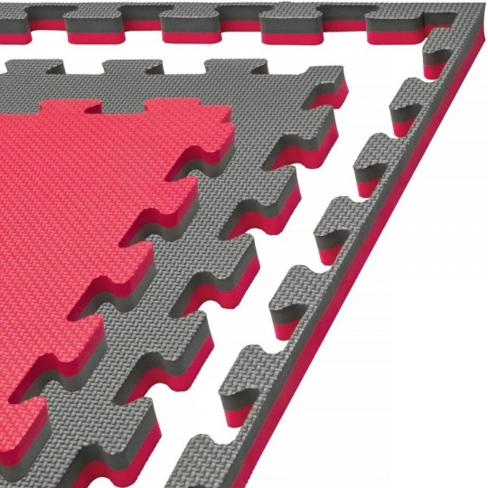 Tatami Puzzle 100x100x4 cm, šedo-červená