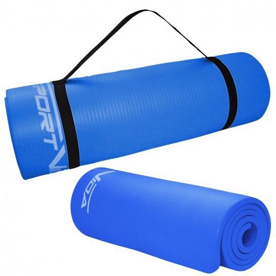 Podložka na cvičení NBR SPORTVIDA 1,5 cm modrá