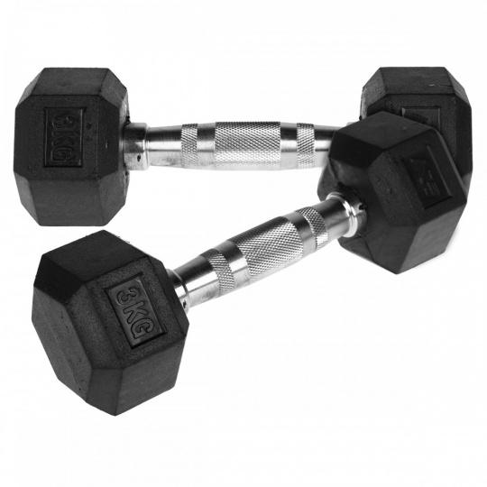 Jednoruční činka HEX 3 kg