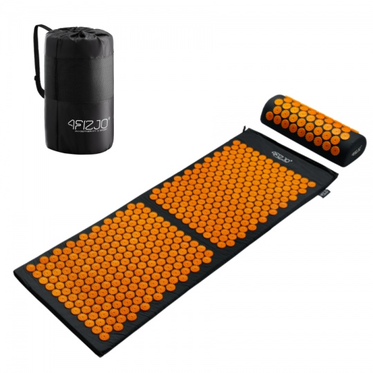 Akurpresurní podložka + polštář 4FIZJO 130 * 50 cm černo-oranžová