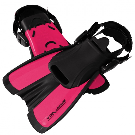 Potápačské plutvy krátke ružové nastaviteľná veľkosť