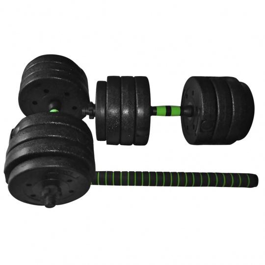 Set jednoručných činiek Sportvida 2 x 20 kg + spojovací diel