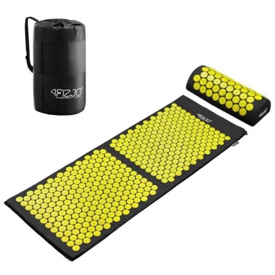 Akurpresurní podložka + polštář 4FIZJO 130 * 50 cm žlutá